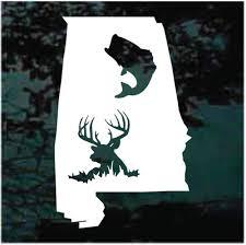 Alabama State Deer Bass Fish Car Decals Stickers Decal Junky