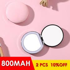 3X Lúp Nhỏ Có Đèn Gương Trang Điểm Sáng Tròn Mini Di Động Đèn Led Gương  Trang Điểm Cảm Ứng USB Có Thể Sạc Gương Trang Điểm|Gương Trang Điểm