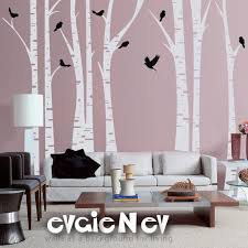 Birch Tree Wall Decal White Tree Wall Decal Trfr010r Etsy