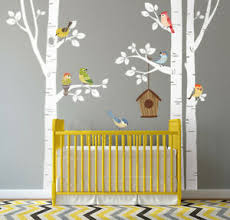 Birch Trees And Birds Wall Decal Forest Trees Nursery Wall Decal Decor Ebay