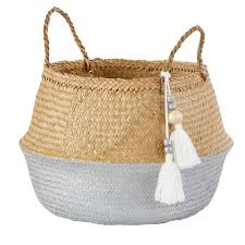 Two-Tone Plant Fibre Collapsible Basket with Pom Poms | Plant fibres,  Basket, Ikea basket