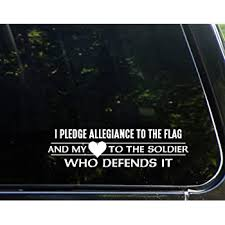 Amazon Com Diamond Graphics I Pledge Allegiance To The Flag And My Heart To The Soldier Who Defends It 8 3 4 X 2 1 4 Die Cut Decal For Windows Cars Trucks Laptops Etc Automotive
