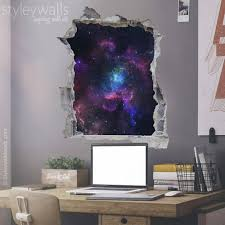 Space Wall Decal Galaxy Wall Sticker Hole In The Wall 3d Etsy