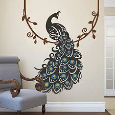 Amazon Com Peacock Wall Decal Peafowl Wall Sticker Animal Wall Decal Bird Wall Decal Vinyl Nursery Wall Decal Peacock Wall Mural Home Art Decor F Peacock And Feather Black Annulus Of The Feather S Eyes Medium Blue Eyes Of