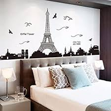 Ussore Eiffel Tower Removable Decor Environmentally Mural Wall Stickers Decal Wallpaper For Kids Home Living Room Bedroom Bathroom Kitchen Office Amazon Com