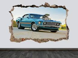 Old Ford Mustang Wall Decal Retro Ford Mustang Vintage Ford Etsy