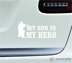 Amazon Com Military My Son Is My Hero 7x3 White Army Marine Veteran Soldier Love Family America United States Color Sticker State Decal Vinyl Made And Shipped In Usa Automotive