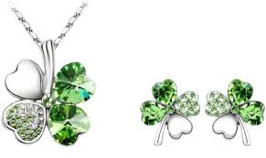 four leaf clover necklace and earrings set