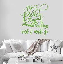 Amazon Com 24 X20 The Beach Is Calling And I Must Go Vacation Waves Water Seagull Wall Decal Sticker Art Mural Home Decor Home Kitchen