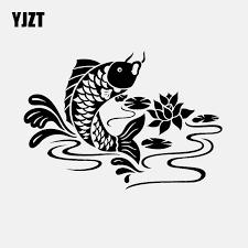 Yjzt 15 9cm 11 1cm Koi Carp Fish Animal Car Sticker Decal Vinyl Decor Black Silver C24 0491 Car Stickers Aliexpress
