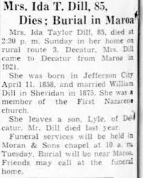 Obituary for Ida Taylor Dill (Aged 85) - Newspapers.com