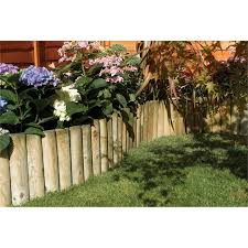 Wooden Log Roll Border Edging Fence Pressure Treated Garden Fixed Picket Lawn Edging 5