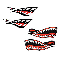 Chictry 2pcs Shark Teeth Mouth Reflective Decals Sticker Waterproof Diy Funny Decor For Canoe Kayak Surfboard