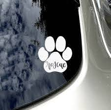 Rescue Dog Car Decal Rescue Paw Print Car Sticker Car Accessory Rescue Mom Rescue Animal Sticker Dog Decal Car Accessory Dog Car Accessories Dog Car Preppy Car Accessories
