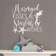 Amazon Com Mermaid Kisses And Starfish Wishes Wall Decal Quote Mermaid Wall Decal Nautical Nursery Decor Girls Bedroom Decals White 44 H X 44 W Furniture Decor