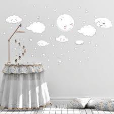 Sleeping Moon Clouds Stars Room Decals