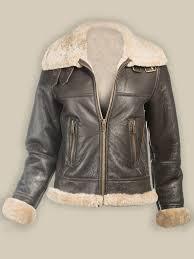 aviator shearling women leather jacket