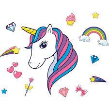 Vinyl Home Art Decor Rainbow And Unicorns Design Wall Decoration Sticker 14 X 20 Kids Bedroom