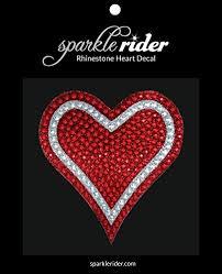 Sparkle Rider Rhinestone Decal Stickers Heart Shape 4 5 Inch Red Silver Sparkle Rider