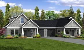 duplex house plans garage middle home