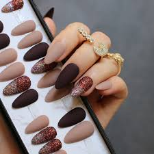 Dark Coffee Mixed Nude Glitter Powder Stiletto Matte Fake Nails