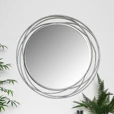 silver wall mirror swirl ornate frame