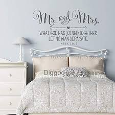 Amazon Com Diggoo Mr And Mrs What God Has Joined Together Mark 10 9 Vinyl Wall Decal Bedroom Wall Decor Sticker Scripture Verse Christian Quote Gray 16 H X 30 W Home Kitchen