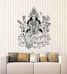 Amazon Com Wallstickers4ever Vinyl Wall Decal Indian Goddess Hinduism Lotus Om Meditation Stickers Mural Large Decor G2314 Black Home Kitchen