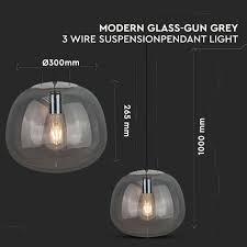 pendant light modern glass grey 3 wire