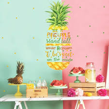 Amazon Com Toarti Pineapple Quotes Wall Decals Motivational Inspirational Saying Wall Stickers Stars Wall Art Watercolor Fruit Vinyl Sticker For Girls Women Bedroom Dressing Room Decor Arts Crafts Sewing
