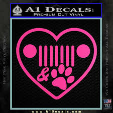 Jeep Decal Sticker Grill And Paw Print I Love A1 Decals