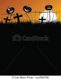 Scary Halloween Pumpkins 2 Scary Pumpkins Sitting On A Fence With Faces With A Great Big Moon In The Background Eps