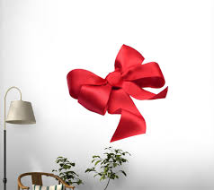 Wallmonkeys Fot 27401346 30 Wm112248 Red Satin Gift Bow Ribbon Isolated On White Peel And Stick Wall Decals 30 In W X 28 In H Medium Large Artificial Christmas Tree Shop