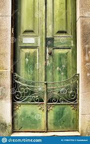 Old Wooden Green Door With Wrought Iron Details Stock Photo Image Of Texture Gate 170841704