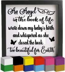 An Angel In The Book Of Life V2 Vinyl Glass Block Photo Frame Decal Sticker Graphic