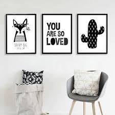 Black White Fox Cactus Canvas Art Poster Cartoon Nursery Print Kids Room Decor Ebay