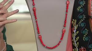 red c bead sterling silver