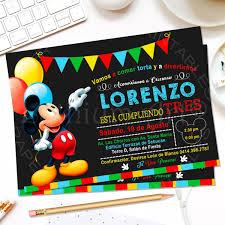 Invitaciones Mickey Mouse Cumpleanos Fiesta Disney 4 600 En