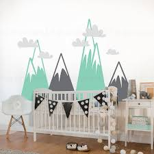 Mountain Wall Decal Woodland Mountain Nursery Decor Mountain Wall Decal Wall Decals For Bedroom Wall Stickers Kids