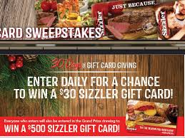 sizzler s gift card giving sweepstakes