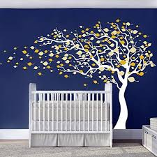 Amazon Com N Sunforest Autumn Tree With Yellow Leaves In Wind Vinyl Wall Decals For Kids Rooms Wall Art Decals Vinyl Stickers Nursery Wall Art Decor Murals Home Kitchen