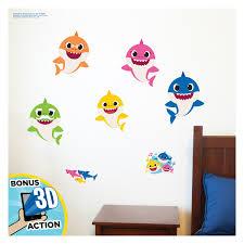 Roommates Baby Shark Peel Stick Wall Decals 39 Characters Room Decor Stickers Walmart Com Walmart Com
