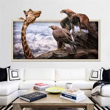 50x70cm 3d Photo Frame Giraffe Eagles Cloud Wall Stickers Bedroom Living Room Home Decor Wallpaper Removable Art Wall Decals Wall Decals Cloud Wall Stickerswall Sticker Aliexpress