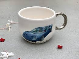 Amazon Com Blue White And Silver Espresso Cup With Vintage Car Decal Handmade Clay Art Kitchen Pottery Small Coffee Or Tea Mug Handmade