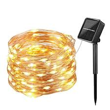 10m solar powered string lights 100 led