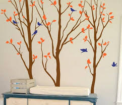 Nursery Birch Tree Wall Decals Large Tree With Birds Special Creative Ellaseal
