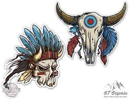 Amazon Com Gt Graphics Chief Bull Skull Native Set Large Size Vinyl Stickers Decals For Truck Car Cornhole Board Sports Outdoors