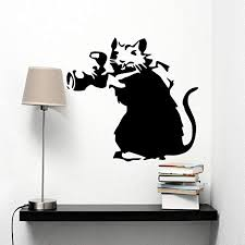 Banksy Rat Paparazzi Wall Sticker Vinyl Decal 55x80 Amazon Ca Home Kitchen