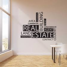 Wall Decal Vinyl Real Estate Agency Word Agent Realtor Office Quote Lettering Decor Sticker Mural Creative Interior Decal Lc1494 Wall Stickers Aliexpress