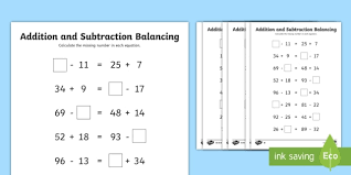 lks2 addition and subtraction balancing